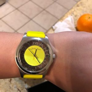 Marc Jacob neon yellow watch with silver hardware